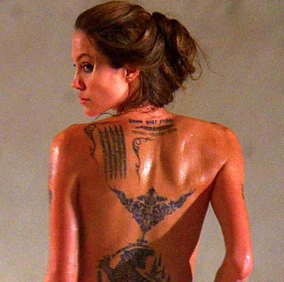 Angelina Shows Off Her New (Temporary) Tattoos for Wanted